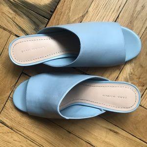 Zara Light Blue Leather Mules!